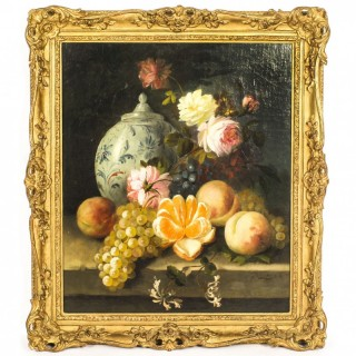 Antique Still Life Oil Painting by Jules Édouard Diart 19th Century