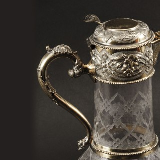 Antique Victorian Sterling Silver Gilt and Cut Crystal Claret Jug 1873 19th C