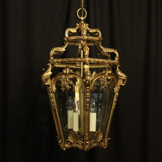 French 19th C Bronze Antique Hall Lantern