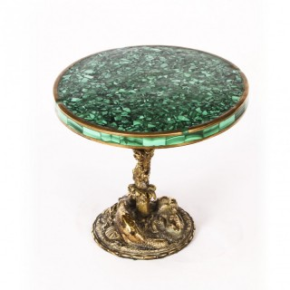 Antique French Ormolu and Malachite Miniature Table 19th Century