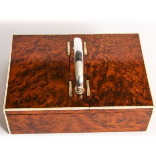 Antique Art Deco Amboyna & Sterling Silver Humidor, by Callow Mayfair C1930