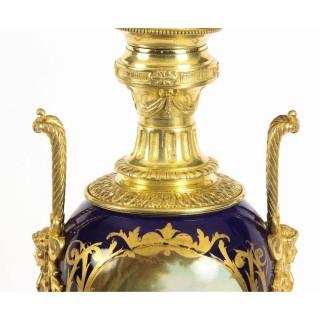 Antique Cobalt Blue Sevres Porcelain Ormolu Table Lamp c.1880 19th C