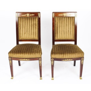 Antique Pair Empire Ormolu Mounted Side Chairs C1880