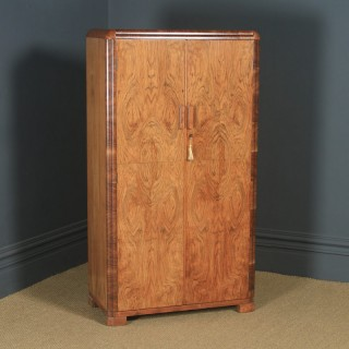 Antique English Art Deco Figured Walnut Two Door Wardrobe (Circa 1930)