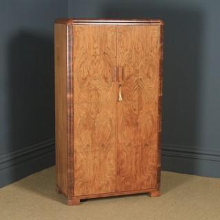 Antique English Art Deco Figured Walnut Two Door Wardrobe (Circa 1930)
