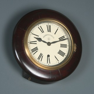 Antique 12″ Mahogany Ansonia Railway Station / School Round Dial Wall Clock (Timepiece)