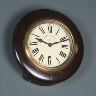 Antique 12″ Mahogany Ansonia Railway Station / School Round Dial Wall Clock (Timepiece)