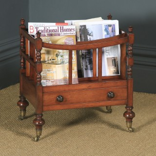 Small Antique English Georgian Regency Mahogany Canterbury Magazine Rack Tidy (Circa 1830)