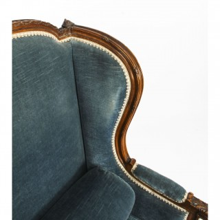 Antique Pair of Louis XV Revival Fauteuil Wingback Armchairs 19th C