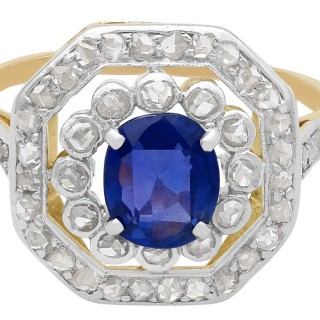 1.02 ct Sapphire and 0.62 ct Diamond, 10 ct Yellow Gold Cluster Ring - Antique Circa 1910