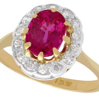 1.55 ct Ruby and 0.33 ct Diamond, 18ct Yellow Gold Cluster Ring - Vintage Circa 1960