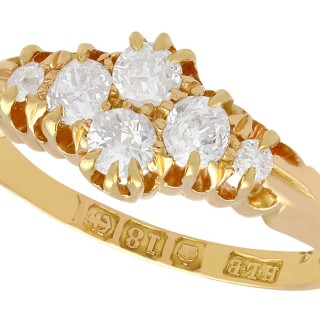 0.54 ct Diamond and 18 ct Yellow Gold Dress Ring - Antique Victorian