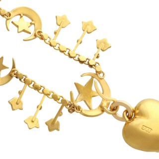 Seed Pearl and 15ct Yellow Gold Heart Necklace - Antique Circa 1880