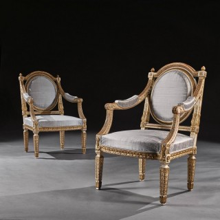 Fine Pair Of 19th C Decorative Italian Painted And Parcel Gilt Armchairs Of Neo-Classical Design.