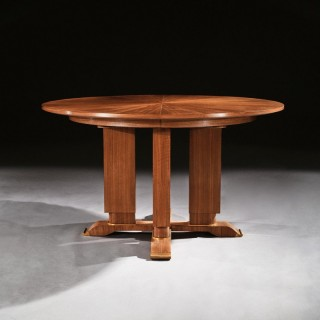 Jules Leleu, French Walnut Gueridon Extendable Dining Table C.1930. Signed Jules Leleu.