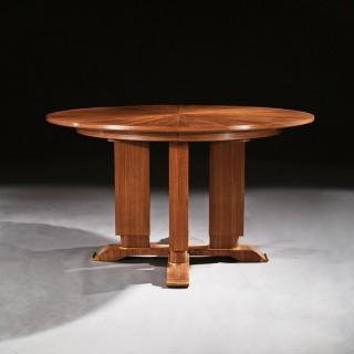 Jules Leleu, French Walnut Gueridon Extendable Dining Table C.1930. Signed Jules Leleu.