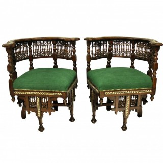 A PAIR OF FINE SYRIAN ARMCHAIRS