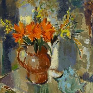 'Marigolds, 1974' original oil painting by Scottish artist Alexander Galt (1913-2000)