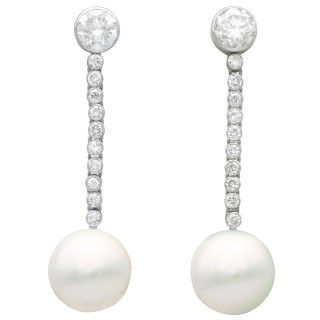 2.09 ct Diamond and Cultured Pearl, Platinum Drop Earrings - Vintage Circa 1980