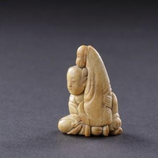 Japanese Ivory Netsuke of the Immortal Chokaro Sennin with his Magic Horse
