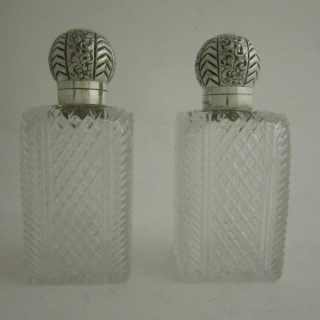 Antique Victorian Sterling Silver and Glass Scent Bottles