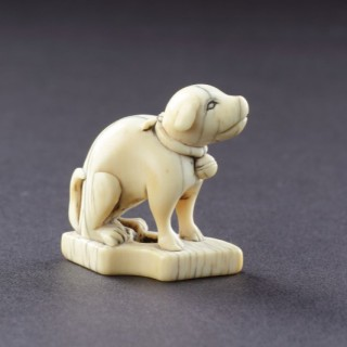 A Japanese Carved Ivory Netsuke of a Seated Dog Wearing a Collar with a Suspended Bell