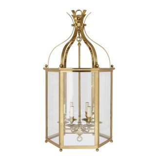 Large Neoclassical style brass and plate glass lantern