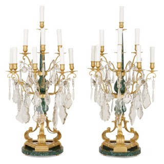 Pair of 19th century French cut glass, malachite and gilt bronze candelabra
