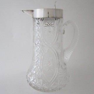 Antique Edwardian Sterling Silver & Glass Jug