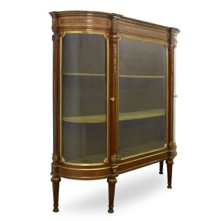 Louis XVI style satinwood vitrine with Neoclassical ormolu mounts