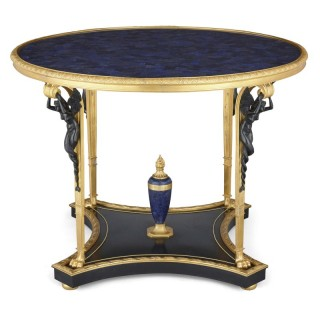 Neoclassical Empire style ormolu and lapis lazuli table with patinated bronze mounts