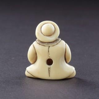 Japanese Ivory Netsuke of a Dutchman Wearing a Broad Rimmed Hat