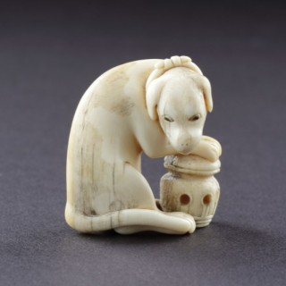 Japanese Ivory Okimono of a Foreign Dog 'Kame'