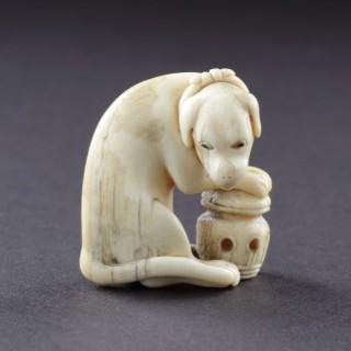 Japanese Ivory Okimono of a Foreign Dog 'Kame'