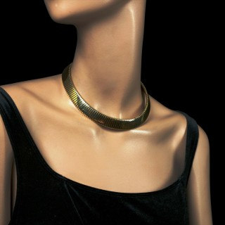 Iconic 18ct Yellow Gold Tubogas Necklace by Bulgari circa 1970s