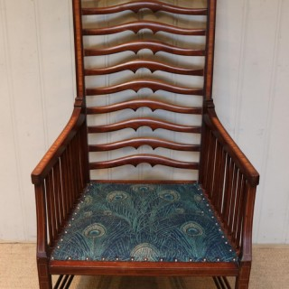 Arts And Crafts Mahogany Ladder Back Armchair