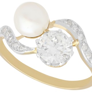 Natural Pearl and 2.60ct Diamond, 18ct Yellow Gold Twist Ring - Antique French Circa 1910
