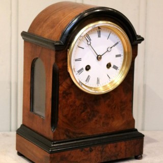 Small Victorian Burr Walnut Mantel Clock