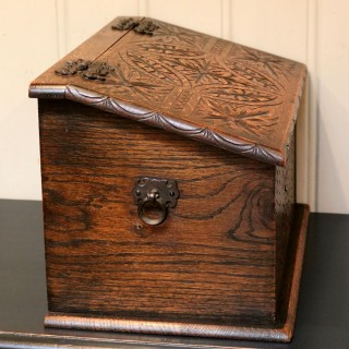 Solid Oak Carved Box