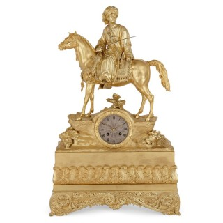 French Orientalist gilt bronze equestrian mantel clock