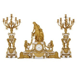 Napoleon III period Neoclassical style clock set by Raingo Frères