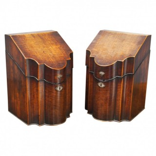 Pair of George III Inlaid Mahogany Cutlery Boxes