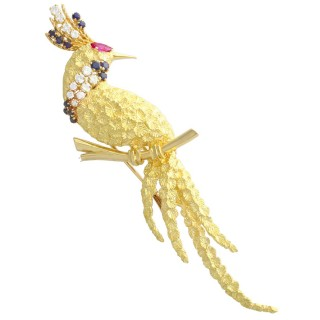 0.42 ct Diamond, 0.28 ct Ruby and 0.45 ct Sapphire, 18ct Yellow Gold Peacock Brooch - Contemporary 2008