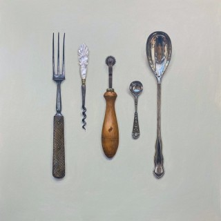 'Collected Cutlery with Mother of Pearl Corkscrew' by Rachel Ross