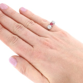 0.62ct Ruby and 1.40ct Diamond, 18ct White Gold Trilogy Ring - Antique