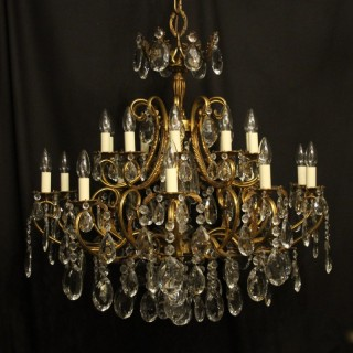 Italian Gilded & Crystal 21 Light Antique Chandelier
