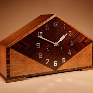 A Very Stylish Typical Art Deco Amsterdam School Oak and Macassar Ebony/Coromandel Mantel Clock.