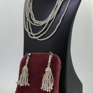 Georgian Pearl and Diamond Necklace and Earrings