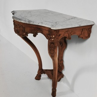 Early 18th Century French Regence Walnut Marble Console Table.