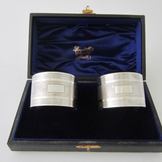 Antique George VI Sterling Silver Napkin Rings